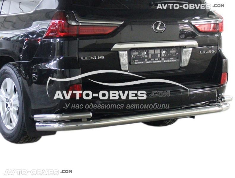 Защита заднего бампера для Lexus LX570 прямой ус с дополнительными углами (под заказ)