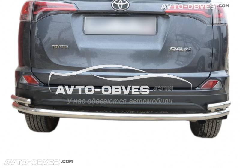 Защита заднего бампера для Toyota Rav4 прямой ус с дополнительными углами