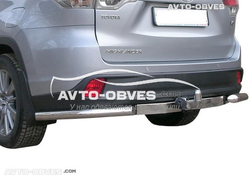 Защита заднего бампера Toyota Highlander, углы одинарные (Tamsan)