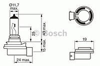 Автолампа H8 12V 35W PGJ19-1 Pure Light, код 1 987 302 081, BOSCH