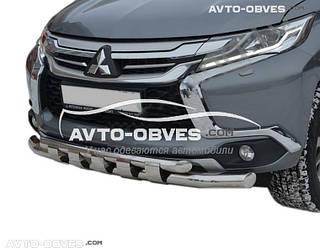 Нижняя защита переднего бампера Mitsubishi Pajero Sport III 2016-… (Tamsan)