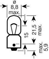 Автолампа T4W 12V 4W BA9s (габариты, освещение салона), код 3893, OSRAM