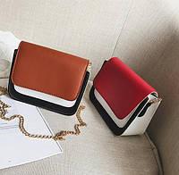 Модная двухцветная сумка-сундучок на цепочке