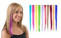Цветные пряди искусственных волос на заколке (трессах)