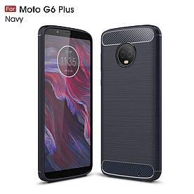Чехол накладка для Motorola Moto G6 Plus силиконовый, Carbon Fibre, темно-синий