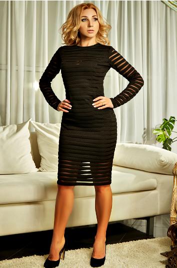 """Приталенное платье """"Алла"""" чёрного цвета"""
