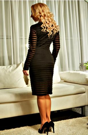 """Приталенное платье """"Алла"""" чёрного цвета, фото 2"""