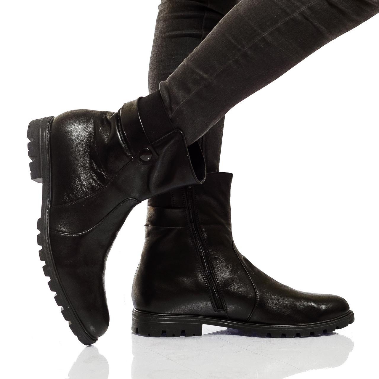 Ботинки на низком ходу, из натуральной кожи, на молнии. Черный цвет! Размеры 36-41 модель S2193
