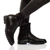 Ботинки на низком ходу, из натуральной кожи, на молнии. Черный цвет! Размеры 36-41 модель S2193, фото 1