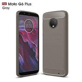 Чехол накладка для Motorola Moto G6 Plus силиконовый, Carbon Fibre, серый