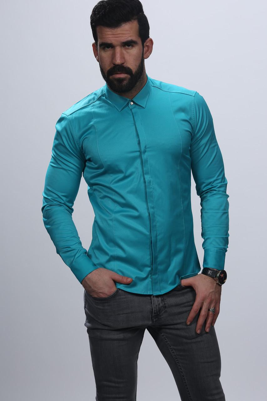 Мужская рубашка бирюзового цвета весна 2018