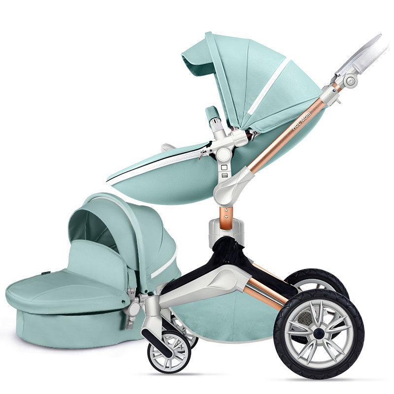 Оригинальная детская коляска 2в1 Hot Mom New 360 Бирюзовая эко-кожа Прогулочная и люлька