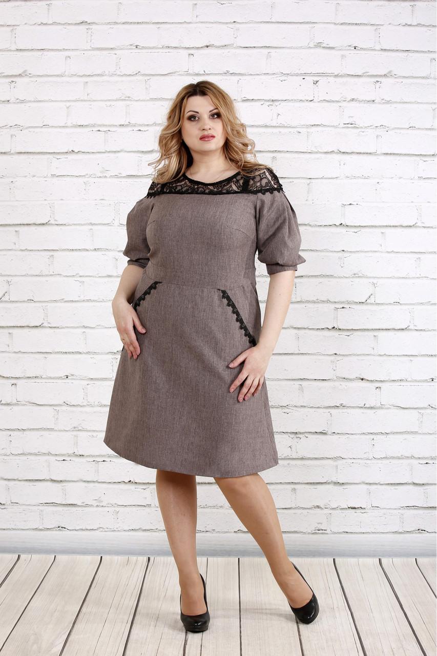 Женское платье рукав фонарик цвет мокко 0773 / размер 42-74 / батал
