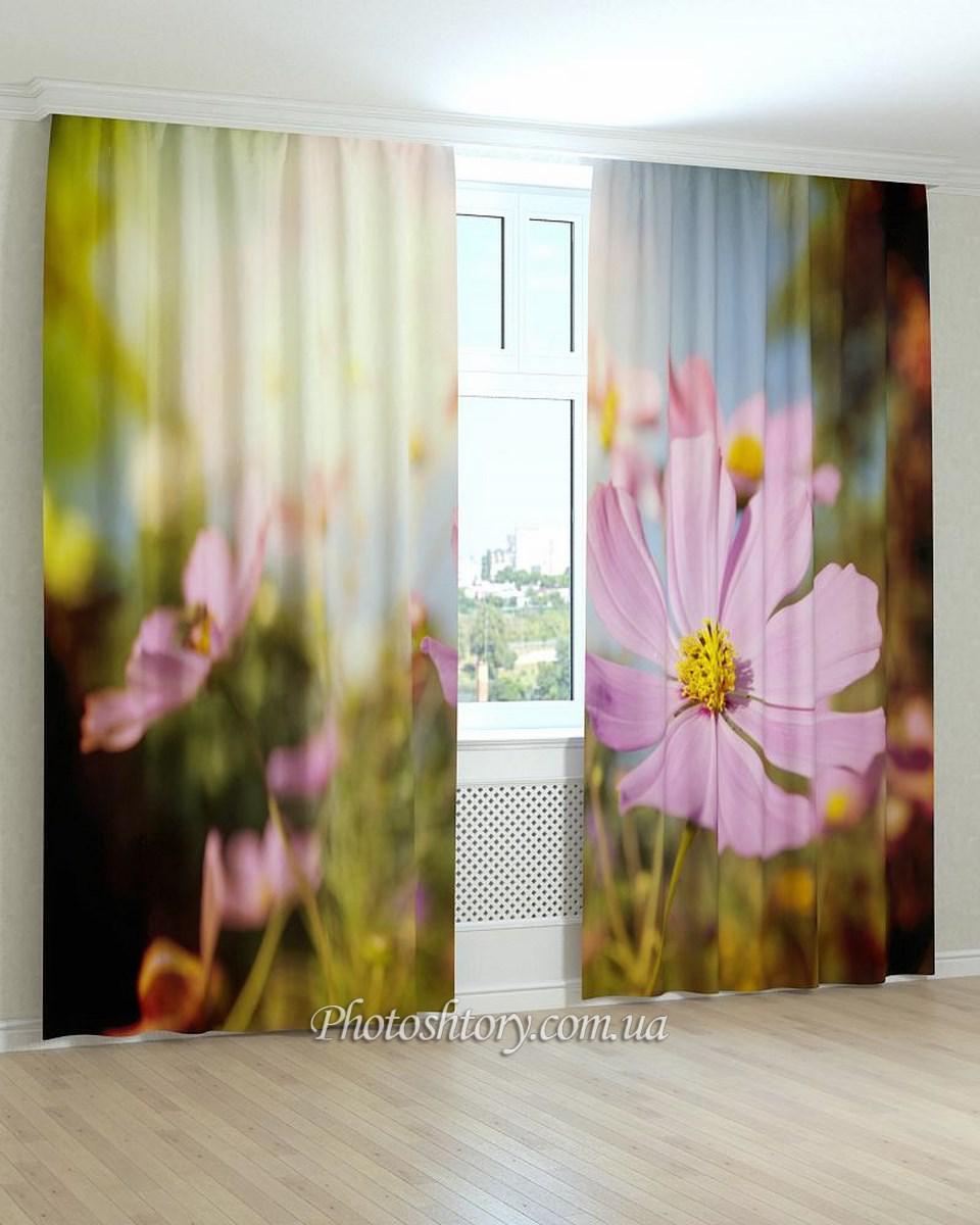 Фотошторы поляна розовых цветов