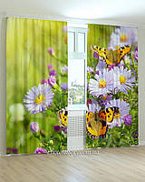 Фотошторы две бабочки на цветах