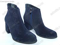 Женские ботильоны  на широком каблуке 6,5см из натуральной замши темно синий