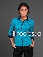 Рубашка офисная бирюзовый, фото 1