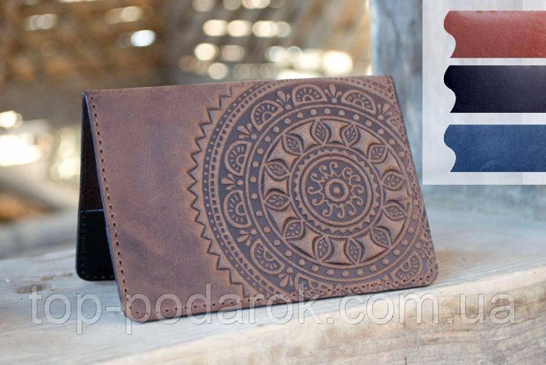 Обложка для паспорта ЭТНО коричневый 9.5*13.5см
