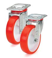 Колеса полиамид/красный полиуретан, диаметр 200 мм, с поворотным среднеусиленным кронштейном