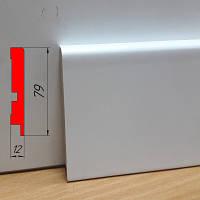 Белый прямоугольный плинтус МДФ, высотой 79 мм, 2,8 м Белый