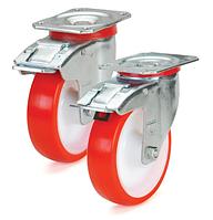 Колеса полиамид/красный полиуретан, диаметр 200 мм, с поворотным среднеусиленным кроншт. с фиксатором