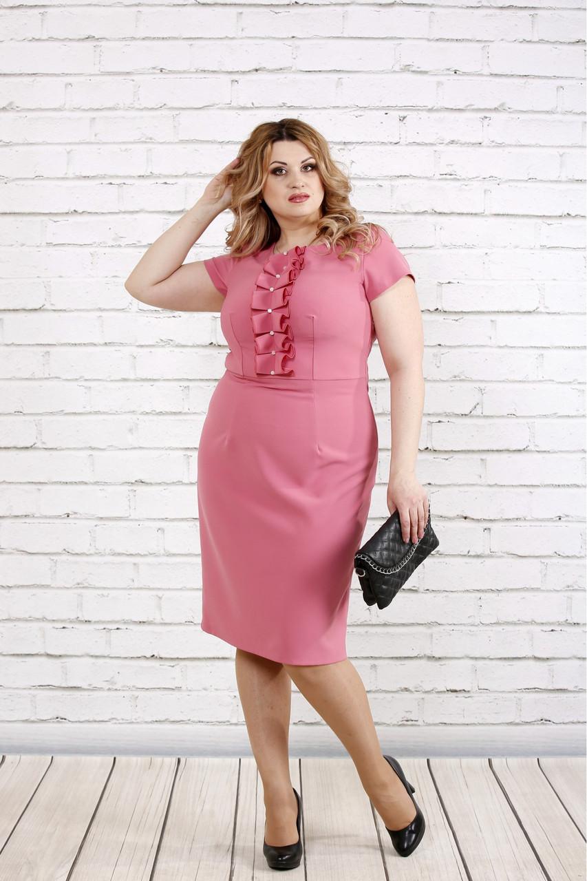 Женское приталенное платье с коротким рукавом цвет фрез 0771 / размер 42-74 / большие размеры