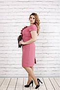 Женское приталенное платье с коротким рукавом цвет фрез 0771 / размер 42-74 / большие размеры, фото 2