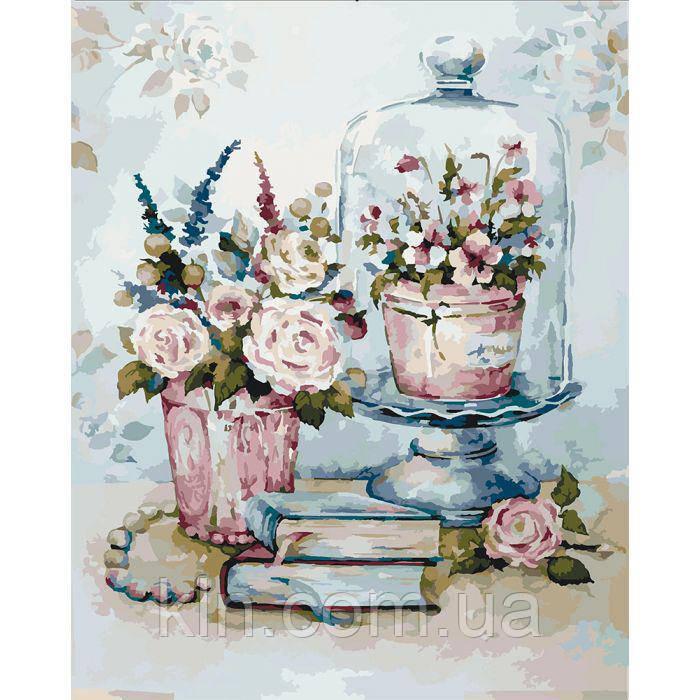 Картина за номерами без коробки 40 х 50 см Бірюзовий натюрморт Ідейка КНО2096