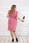 Женское приталенное платье с коротким рукавом цвет фрез 0771 / размер 42-74 / большие размеры, фото 4
