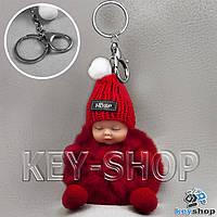 Красный пушистый меховой брелок куколка, на сумку, рюкзак с кольцом и карабином
