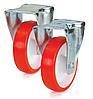Колеса полиамид/красный полиуретан, диаметр 200 мм, с неповоротным среднеусиленным кронштейном