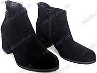 Женские ботильоны  на широком каблуке 6,5см из натуральной замши черные