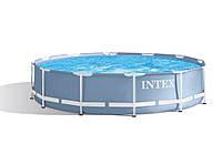Круглый каркасный бассейн Metal Frame Pool + Фильтрующий насос Голубой NEW Intex 366 х 76 см (28712), фото 1