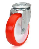 Колеса полиамид/красный полиуретан, диаметр 100 мм, с поворотным кронштейном с отверстием