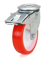 Колеса полиамид/красный полиуретан, диаметр 100 мм, с поворотным кронштейном с отверстием, фиксатором