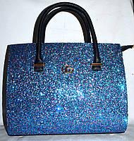 Женская каркасная синяя сумка Gucci с блестками 33*26 см