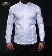 Белая мужская рубашка с воротником-стойкой, фото 1