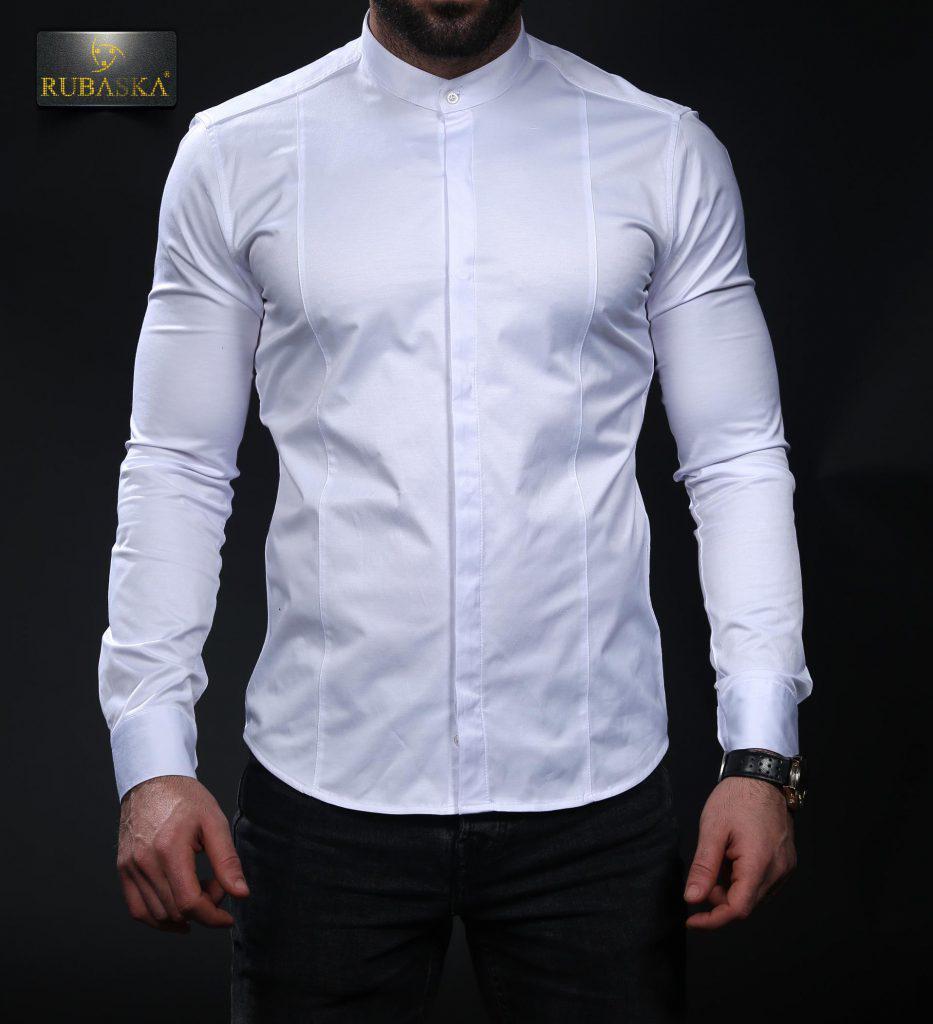 6553942579f1c44 Белая мужская рубашка с воротником-стойкой - Интернет-магазин