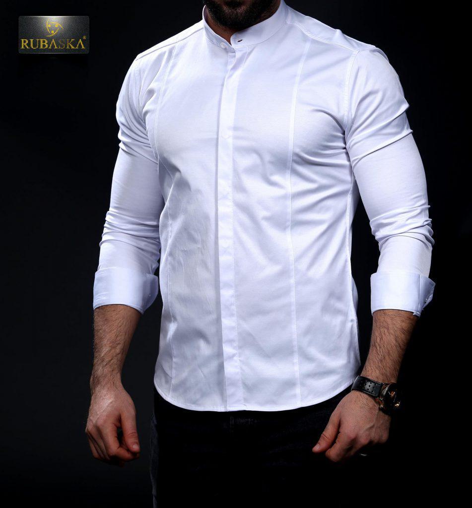 9700f5a56df9f41 Белая мужская рубашка с воротником-стойкой, цена 629 грн., купить в Одессе  — Prom.ua (ID#670647302)