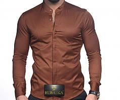 Стильная мужская рубашка воротник-стойка