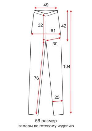 Высокие лосины в обтяжку длинные - 56 размер - чертеж