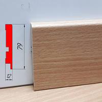 Дизайнерский плинтус МДФ, высотой 79 мм, 2,8 м Бук бавария