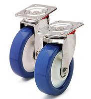 Колесо полиамид/синий полиуретан, диаметр 150 мм, с поворотным кронштейном
