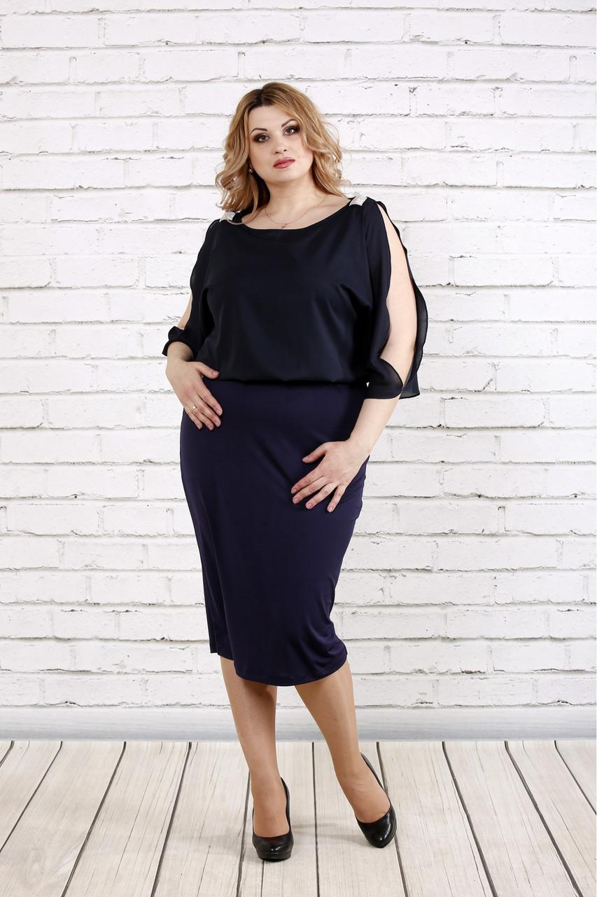 Женское нарядное платье с шифоном цвет темно синий 0769 / размер 42-74 / батал