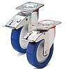 Колесо полиамид/синий полиуретан, диаметр 80 мм, с поворотным кронштейном и фиксатором