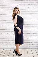 Женское нарядное платье с шифоном цвет темно синий 0769 / размер 42-74 / батал, фото 3