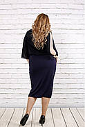 Женское нарядное платье с шифоном цвет темно синий 0769 / размер 42-74 / батал, фото 4