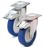 Колесо полиамид/синий полиуретан, диаметр 150 мм, с поворотным среднеусиленным кроншт. с фиксатором