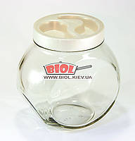 """Банка стеклянная 1,75л для хранения продуктов """"Неваляшка"""" с белой крышкой"""