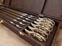 """Набор шампуров из бронзы """"Волчья стая"""" в подарочном кейсе, фото 1"""